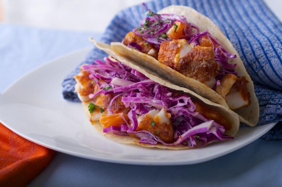 Chef Aaron Sanchez's fish tacos with cabbage and tangerine slaw.